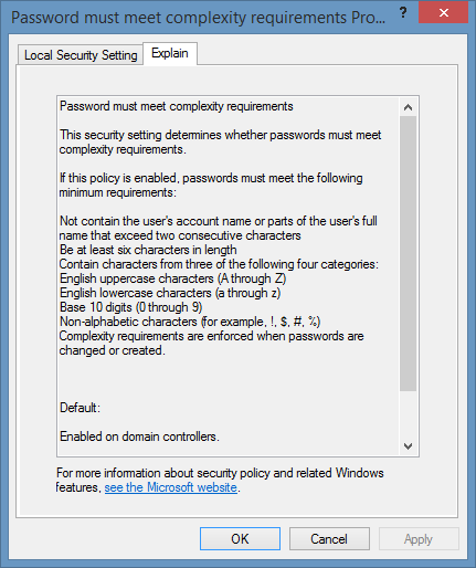 Screenshot of Password must meet complexity requirements policy explain text