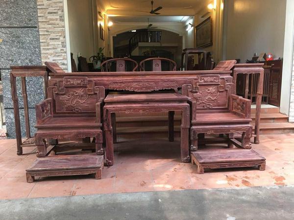 Nơi bán bộ bàn ghế trung đường gỗ trắc đảm bảo uy tín