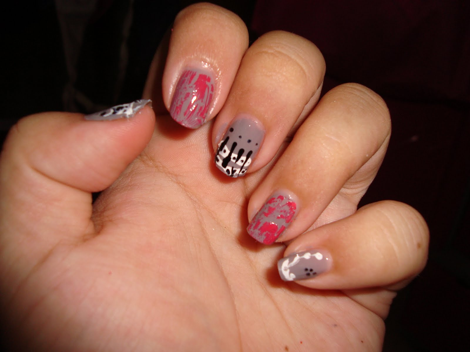 Nails | Black, White and Gray All-over