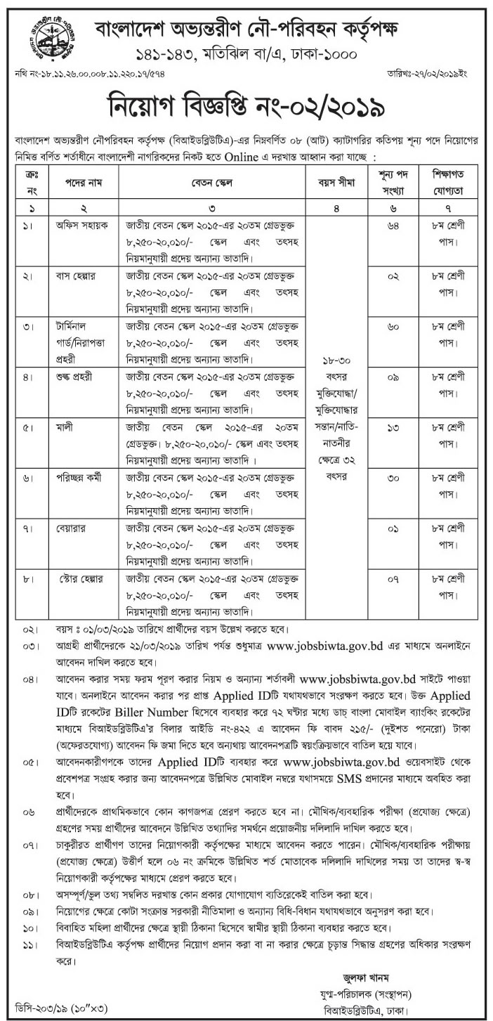 Bangladesh Inland Water Transport Authority (BIWTA) Job Circular 2019