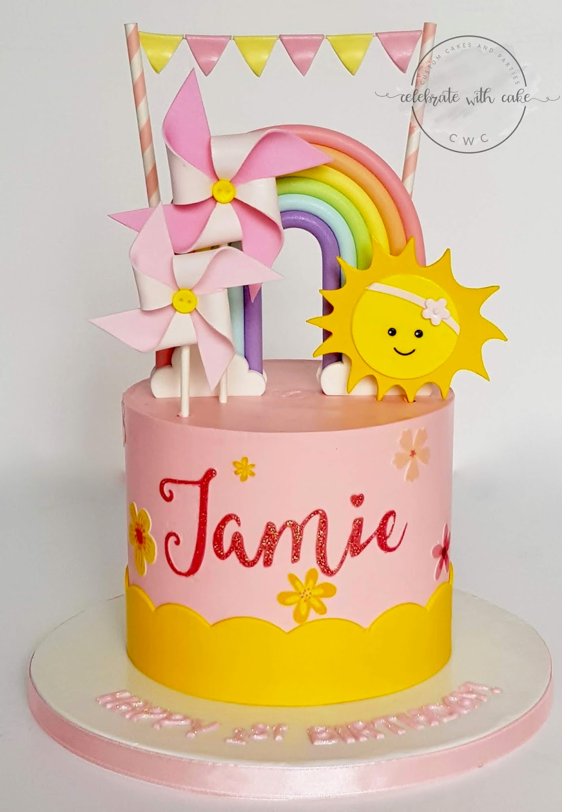 Rainbow Windmill And Sun 1st Birthday Cake