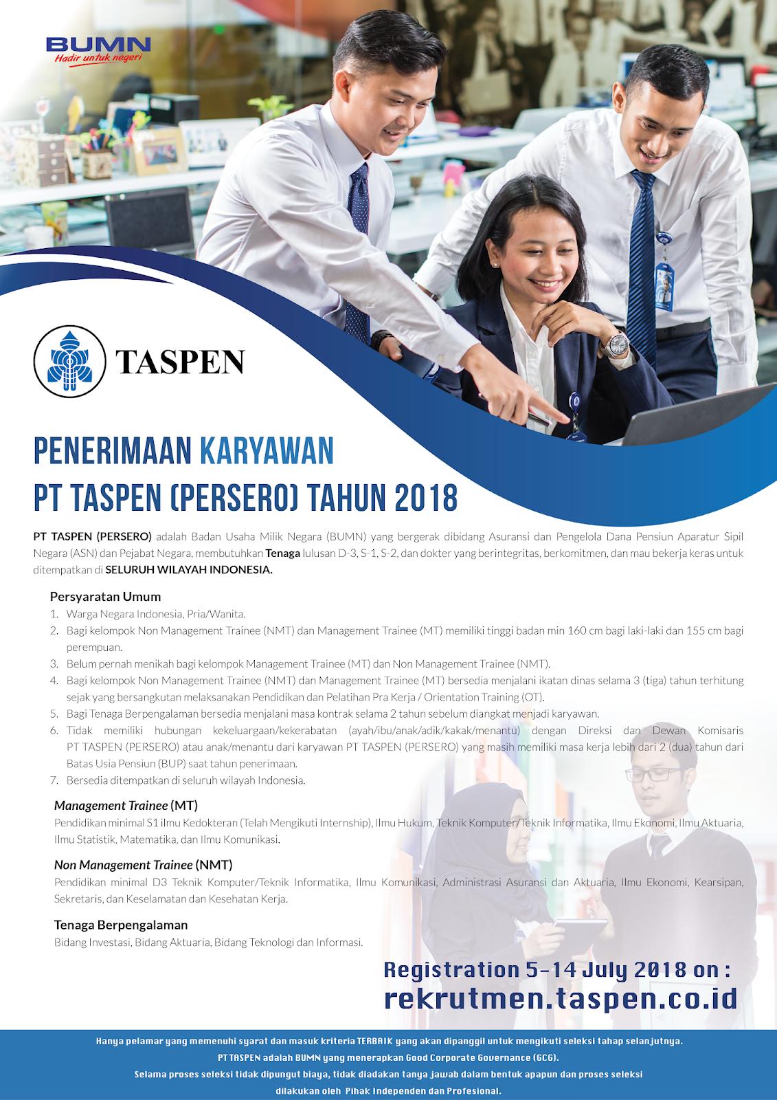 Lowongan Kerja Pt Taspen Persero Terbaru Tahun 2018 Rekrutmen Dan Lowongan Kerja Bulan Februari 2021