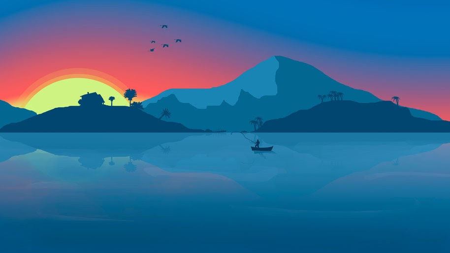 Sunset, Sea, Sunset, Minimalist, Digital Art, Mountains, Landscape, 8K, #55