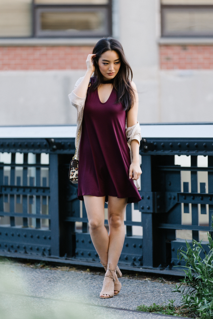 burgundy dress with lightweight cardigan