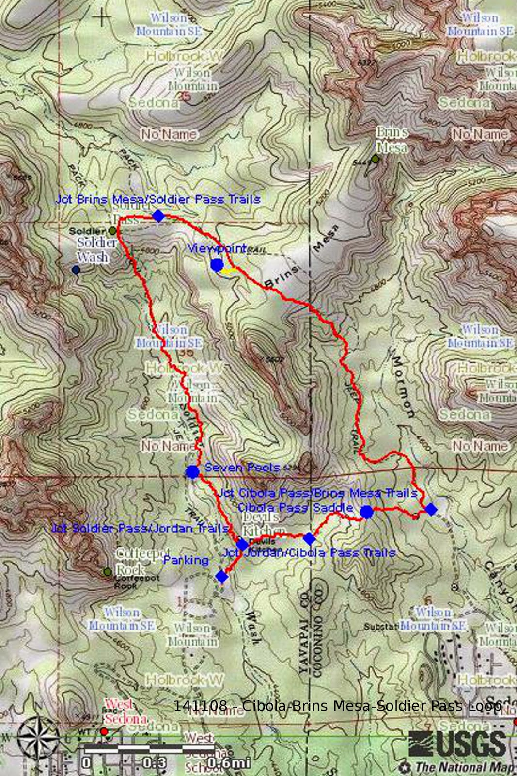 our gps track is shown in red on the included map next page the short yellow track on the map shows the way to the viewpoint overlooking soldier wash