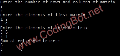 Add Two Matrix C Code