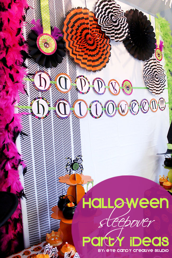 halloween party, halloween sleepover party ideas, glam halloween, party decor