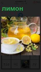 сок лимона в чашке