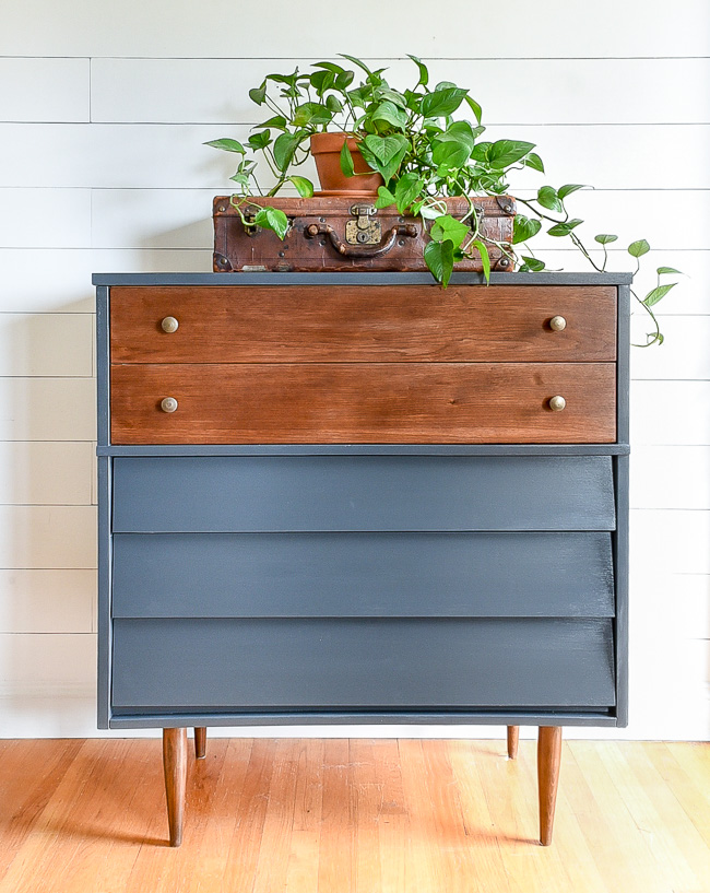 Dark gray and wood mcm dresser makeover