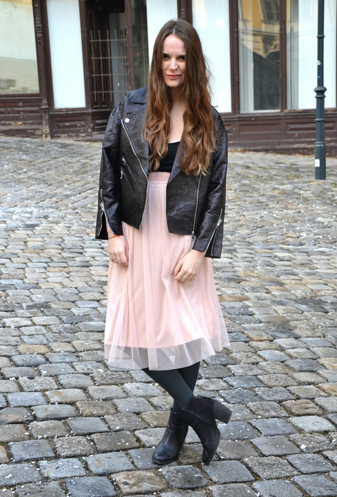 Stereotypically Me: Outfit: Tulle Skirt & Oversized Biker Jacket