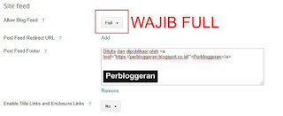 Pengaturan Site Feed Blogger