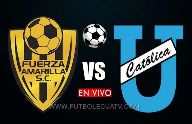 Fuerza Amarilla recibe a la Universidad Católica en vivo 📲 desde las 14:00 hora local por la jornada 18 del torneo doméstico 🏆, a realizarse en el campo Nueve de Mayo, teniendo como árbitro principal a Carlos Bayas con emisión del canal oficial GolTV Ecuador.