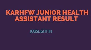 KARHFW Junior Health Assistant Result
