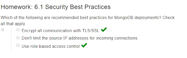 mongodb homework 6.1 security best practices