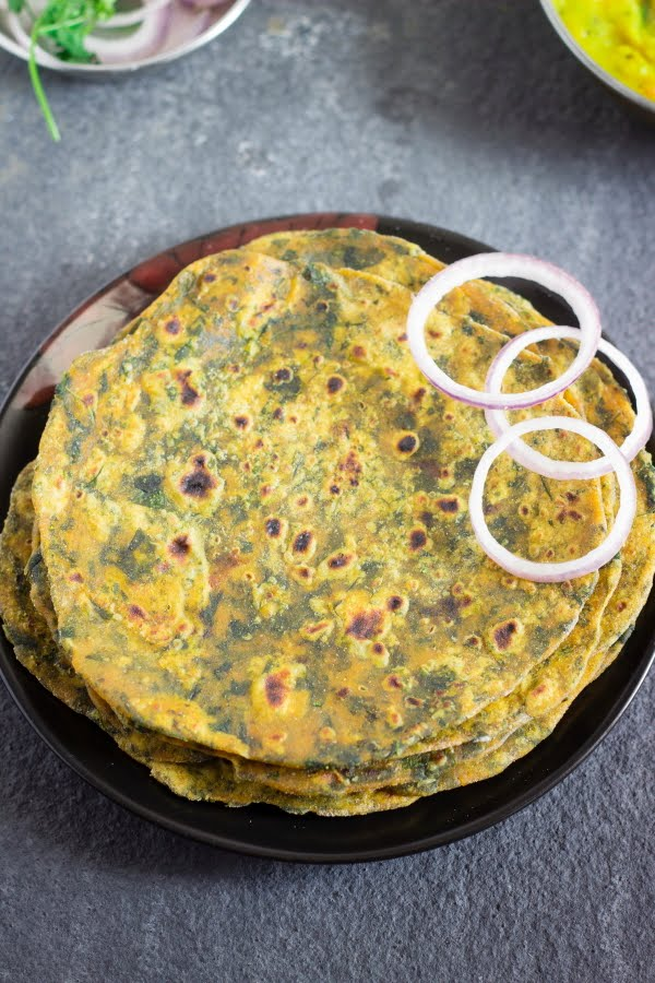 How to make vegan methi fenugreek paratha recipe at www.oneteaspoonoflife.com