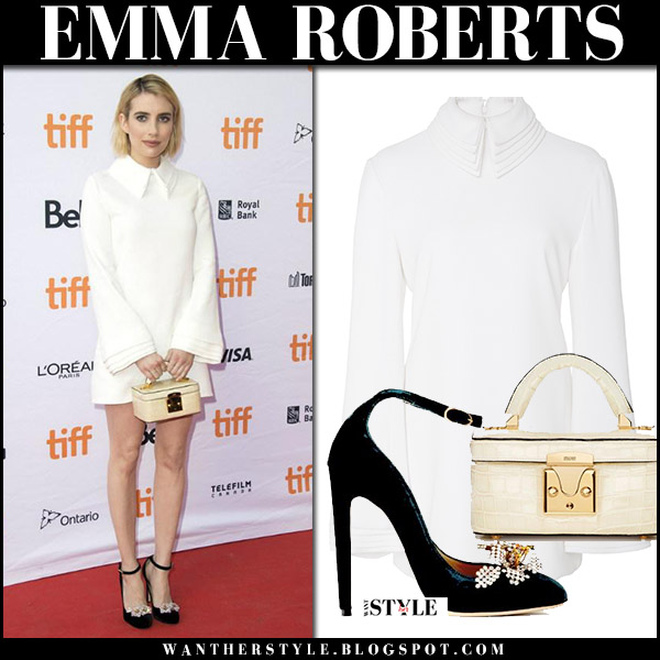 Emma Roberts in white mini dress with collar and velvet pumps who we are now premiere 2017 red carpet