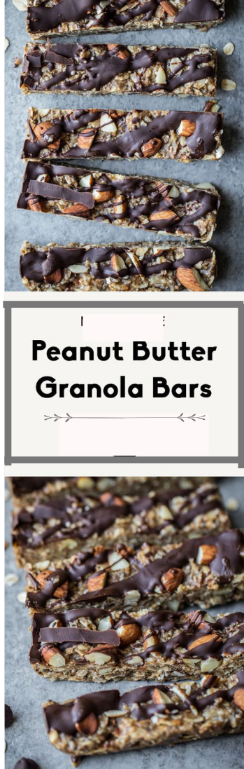 No Bake, Chewy Peanut Butter Granola Bars #almond#peanut