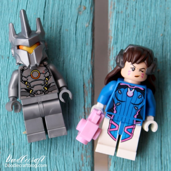 Lego minifigures of reinhardt and d.va from Overwatch lego set build.