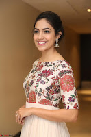 Ritu Varma smiling face Cream Anarkali dress at launch of OPPO New Selfie Camera F3 ~  Exclusive 063.JPG