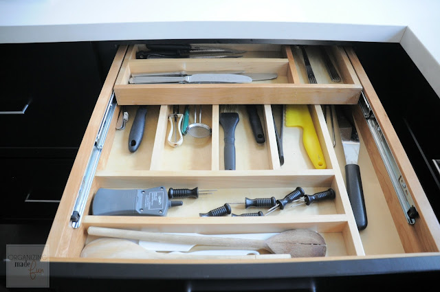 Two tiered utensil drawer :: OrganizingMadeFun.com