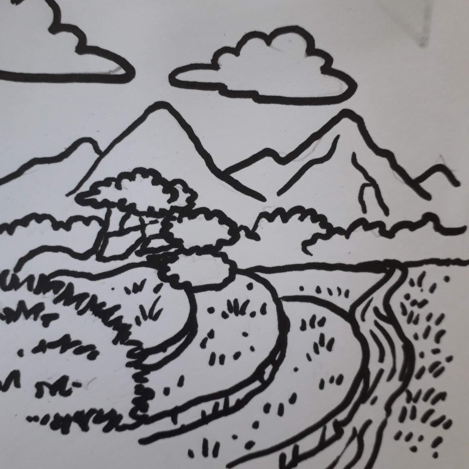Karikaturku Indonesia Mewarnai Pemandangan Alam Gunung Dan Sawah