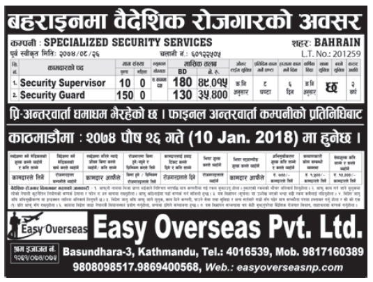 Jobs in Bahrain for Nepali, Salary Rs 49,015