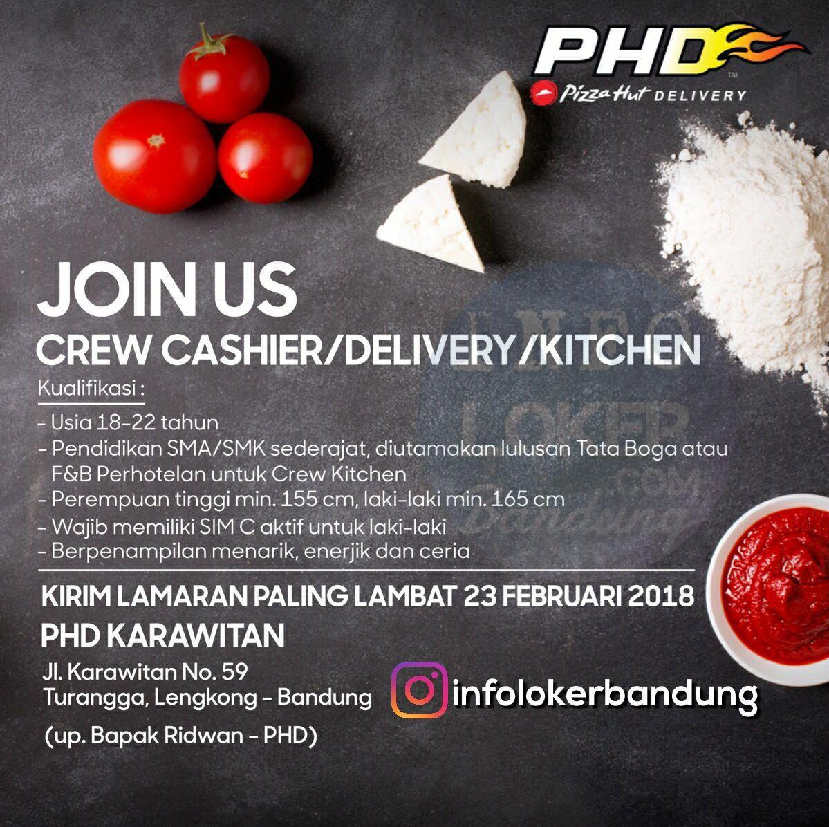 Lowongan Kerja Pizza Hut Delivery ( PHD) Karawitan Bandung Februari 2018