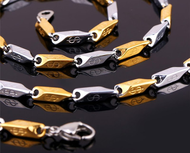 Two-Tone Gold Dollar Pattern Chain