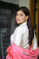 Mannara Chopra in Silky White Salwar Suit with Pink Chunni Latest Exclusive Pics March 2017 ~  026.JPG