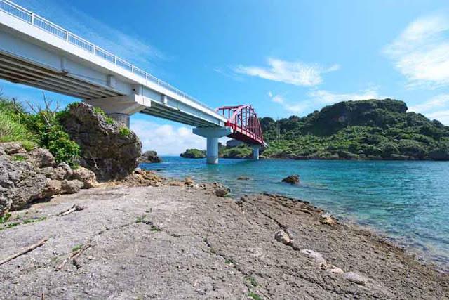Ikei Island, bridge, ocean, sky, power lines removed