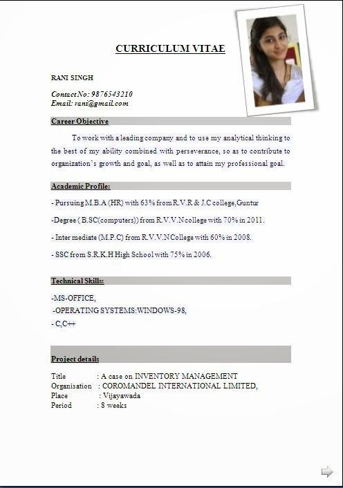 Cv resume format