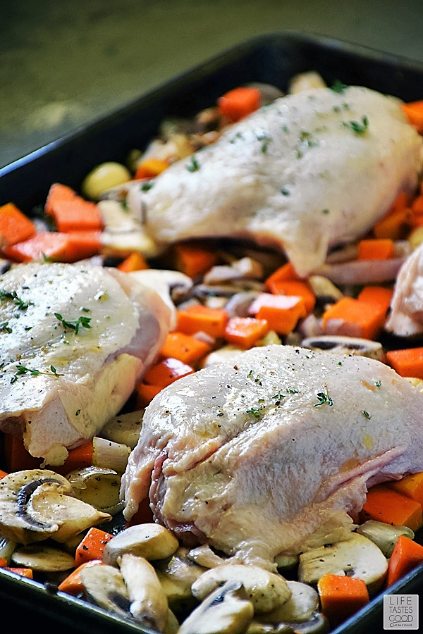 Preparing the chicken for my roasted chicken and vegetables recipe
