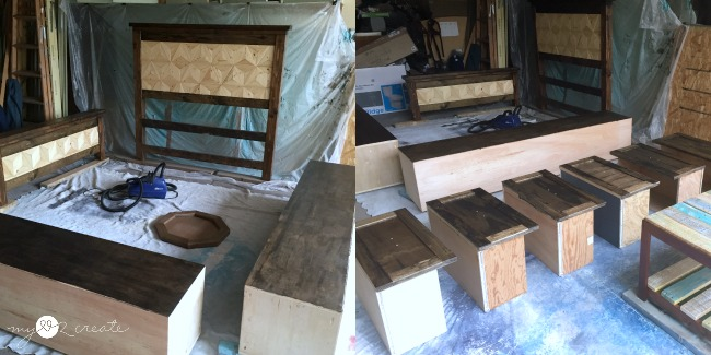 Using Home Right Finish Max Pro to add poly finish to geometric farmhouse storage bed
