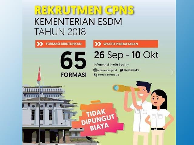 Formasi, Jadwal, dan Persyaratan Rekrutmen CPNS Kementerian ESDM 2018
