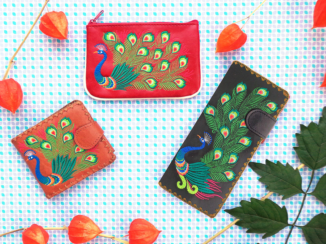 LAVISHY wholesale vegan wallets and coin purse with peacock embroidery pattern