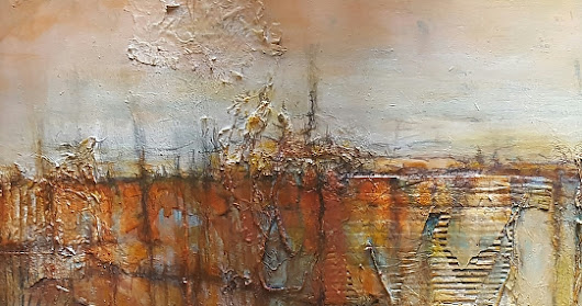 "Mixed Media, Contemporary Abstract Art ""QUANTIUMSCAPE"" by Contemporary Artist Gerri Calpin"