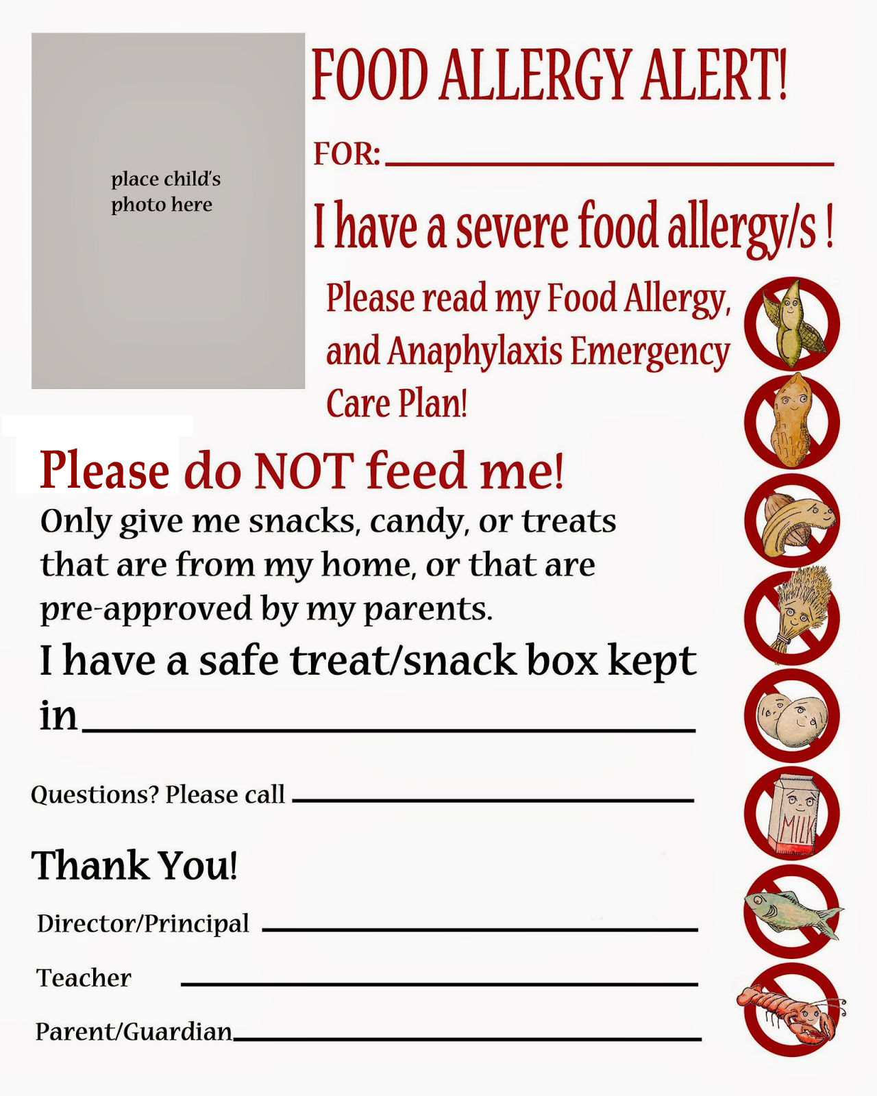Thriving With Allergies Food Allergy Alert Daycare School