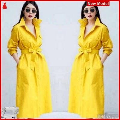 FHGS9055 Model Dress Stella Kuning, Dress Pakaian Perempuan Katun BMG