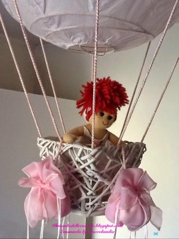 Lampadario, forma mongolfiera, handmade, tessuto, nastri,Ikea.