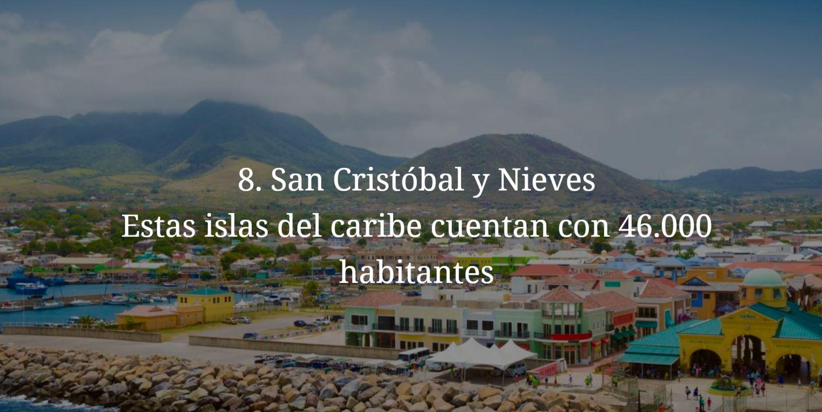 San Cristobal y Nieves, paises mas pequeños y menos habitados del mundo