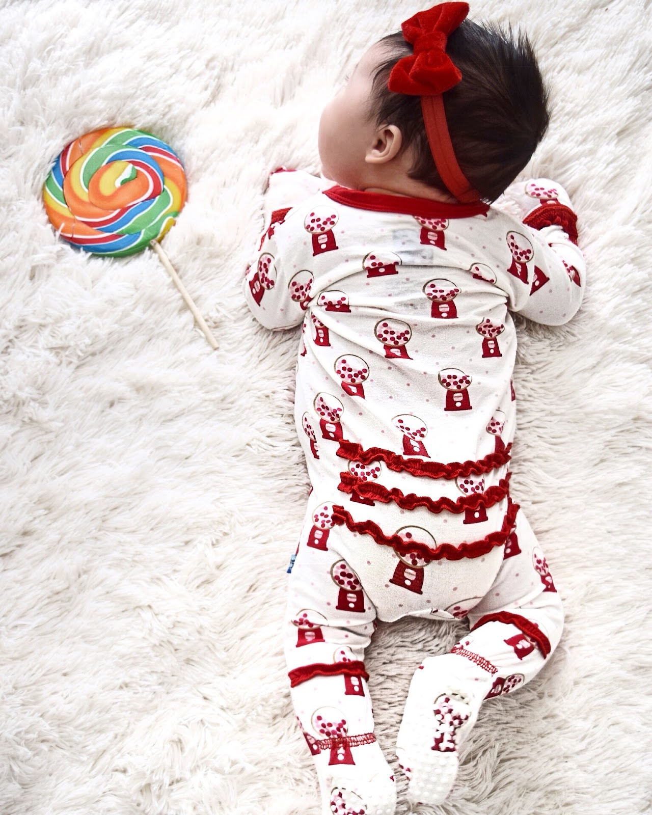 Baby, Kickee Pants, Picket Fence, Baby Clothes, Kickee Pants Print Muffin Ruffle Footie in Gumball Machine, women and children's boutique, designer children's clothes