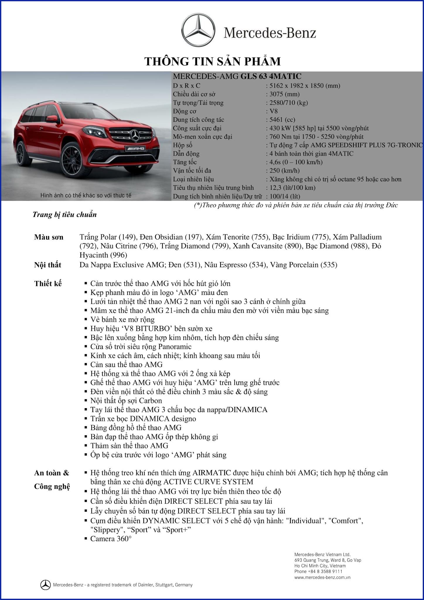 Bảng thông số kỹ thuật Mercedes AMG GLS 63 4MATIC 2018 tại Mercedes Trường Chinh