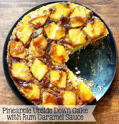 Pineapple Upside Down Cake with Rum Caramel Sauce