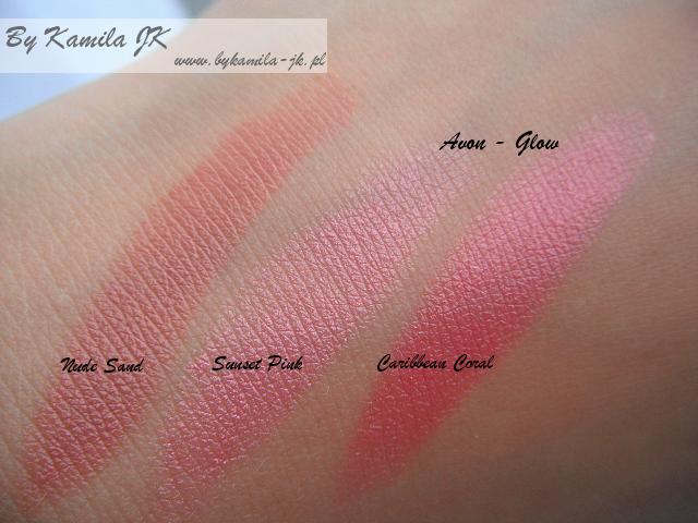 Avon szminki Glow Nude Sand Sunset Pink Caribbean Coral swatche