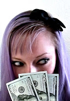 girl with purple hair holding 3 $100 bills Benjamins cha-ching!