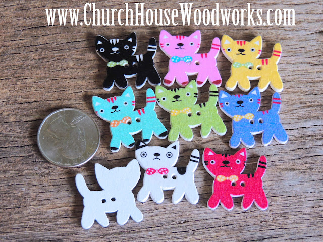 DIY Sewing Kitty Cat Buttons by Church House Woodworks