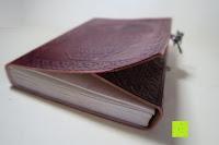 öffnen: Creoly handgemachtes 'Day Of The Dead' Journal aus geprägtem Leder (15cm x 20cm)