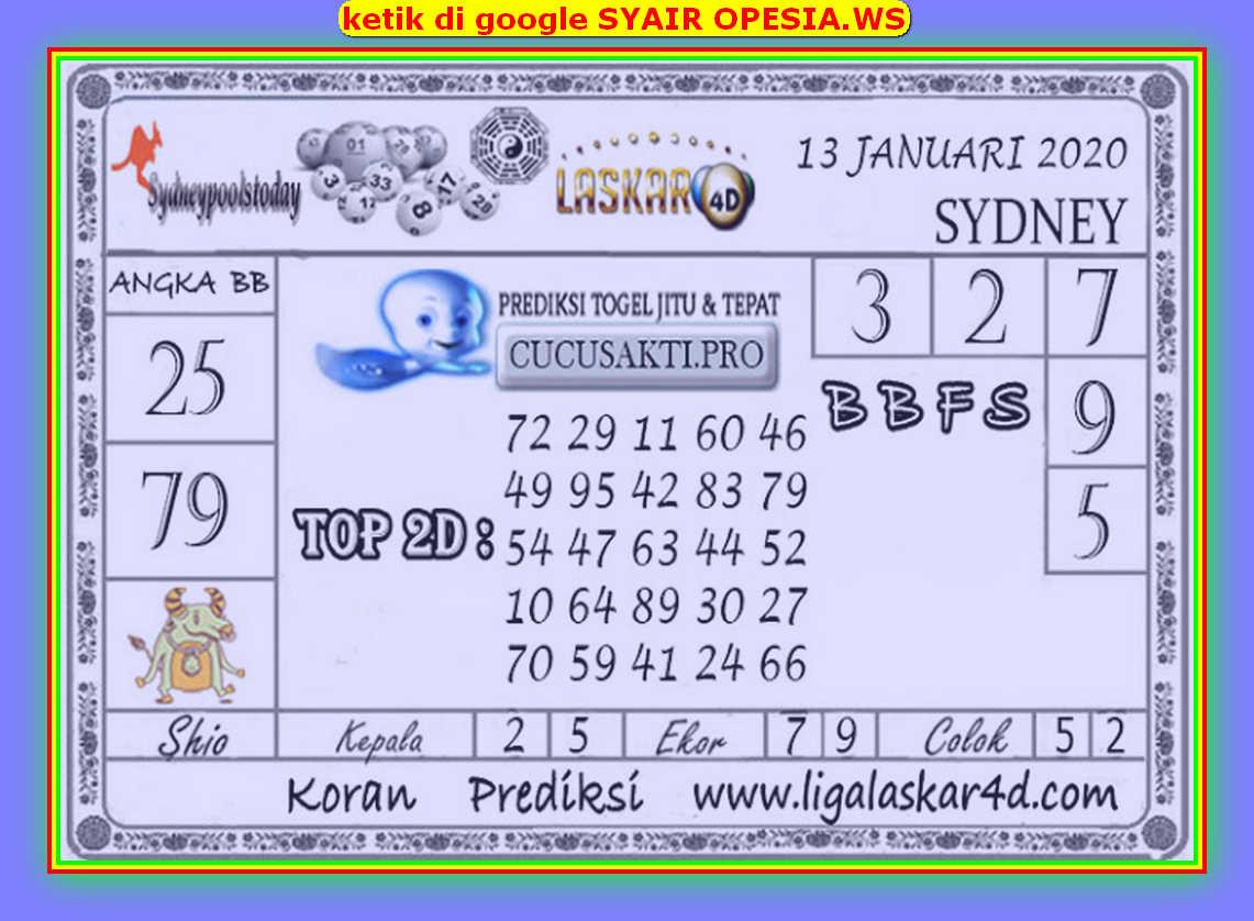 Kode syair Sydney Selasa 14 Januari 2020 73