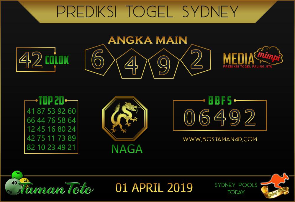Prediksi Togel SYDNEY TAMAN TOTO 01 APRIL 2019