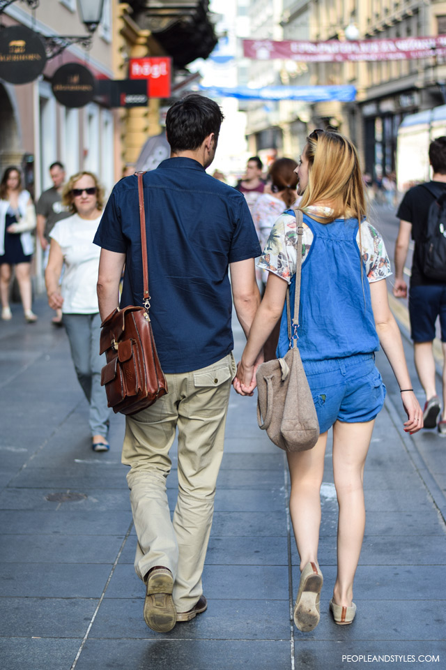 Romper and shoulder bag, Couple street style in Zagreb, summer fashion, June 2015. What to wear to work in summer
